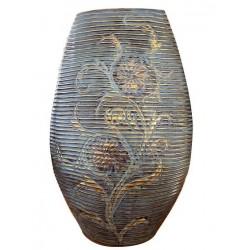Βάζο κεραμικό οβάλ καφέ με χρυσό λουλούδι 47004