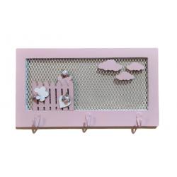 Κρεμάστρα  τοίχου ξύλο/μέταλλο ροζ WH-2035