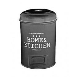 """Κουτί αποθήκευσης μαύρο μεταλλικό \""""HOME KITCHEN\"""" 17εκ 691521"""