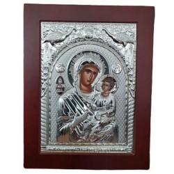 """Εικόνα ασημένια 18,50 Χ 23,5 εκ \""""Παναγία Γιάτρισσα  \"""" ΚΙΒΩΤΟΣ  Α00133"""
