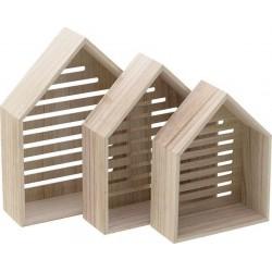 Ραφάκι τοίχου σπίτι ξύλινο natural σετ των 3 Inart 6-70-094-0001
