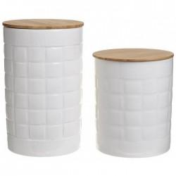Δοχεία καφέ/ζάχαρης πορσελάνης/bamboo σετ2 Inart 6-60-476-0007