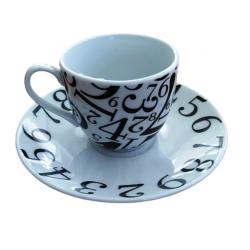 """Φλυτζάνια καφέ/espresso πορσελάνης \""""Νούμερα\"""" ESPIEL 4205"""