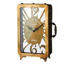 """Ρολόι επιτραπέζιο μεταλλικό χρυσό αντικέ με τζάμι σχέδιο \""""βαλίτσα\"""" 53096"""