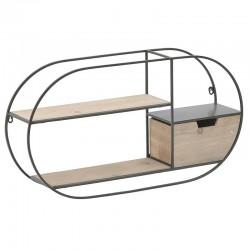 Ραφιέρα Τοίχου μεταλ/ξύλο μαύρη/natural 75x16x40 INART 3-50-812-0114