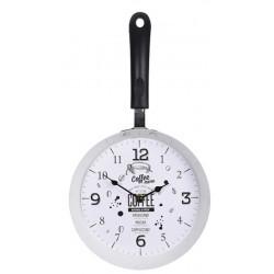 """Ρολόι τοίχου \""""Τηγάνι\"""" λευκό μεταλλικό 21,5x38εκ 242656c"""