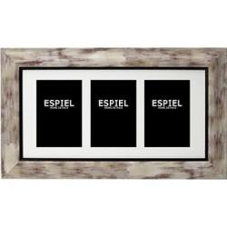 Κορνίζα 3πλη 10x15 εκ λευκό πατίνα 48,5x28,5x1,5εκ Espiel ECO341