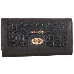 Πορτοφόλι κροκό μαύρο με κούμπωμα Privata 92232