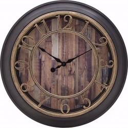 """Ρολόι τοίχου πλαστικό μαύρο/χρυσό Δ40 \""""σανίδες\""""  INART 3-20-828-0110"""