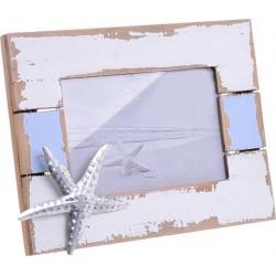 """Κορνίζα ξύλινη  10χ15 \""""αστεριας\"""" αντικέ λευκή/γαλάζια INART 4-30-928-0016"""
