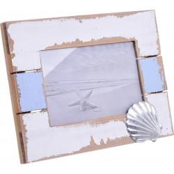 """Κορνίζα ξύλινη  10χ15 \""""κοχύλι\"""" αντικέ λευκή/γαλάζια INART 4-30-928-0015"""