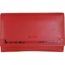 Πορτοφόλι δερμάτινο κόκκινο -σιρίτι κροκό LAVOR-3661