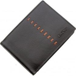 Πορτοφόλι δερμάτινο σκούρο καφέ  με γαζί LAVOR 3649