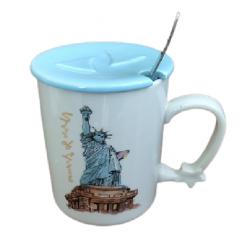 Κούπα πορσελάνης με καπάκι και κουτάλι New York 11.5εκ bx-66a