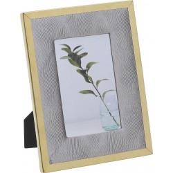 Κορνίζα Μεταλλική/ύφασμα γκρι/χρυσή  10χ15 cm Inart 3-30-058-0255