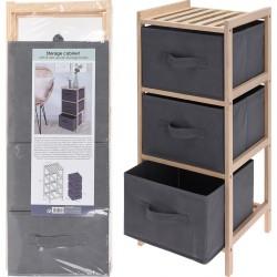 Συρταριέρα ξύλινη με 3 υφασμάτινα συρτάρια 65εκ JK HOME 589164