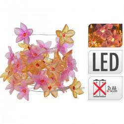 Λαμπάκια 20 led  λουλουδάκια ακρυλικά ροζ/σωμόν JK HOME 985306