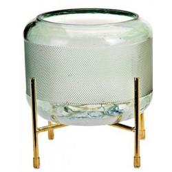 Βάζο πράσινο γυάλινο με βάση μεταλ. χρυσή 16Χ16Χ16 JK HOME 427381-3