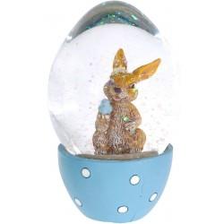 Χιονόμπαλα αυγό με λαγουδάκι γαλάζιο 6,50 εκ JK HOME 455292-1