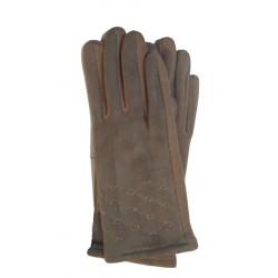 Γάντια ελαστικό ύφασμα /σουετ με γαζιά μπεζ (size ONE SIZE )MODISSIMO 21925