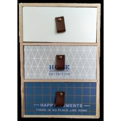 Μίνι συρταριέρα-μπιζουτιέρα ξύλινη 3 συρτάρια μπλε/γκρι/φυσικό 18,50Χ10Χ26,50 JK HOME 239427