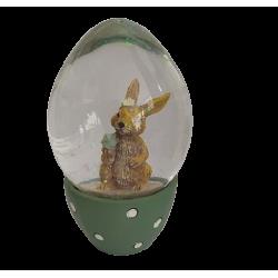 Χιονόμπαλα αυγό με λαγουδάκι πράσινο 6,50 εκ JK HOME 455292-3