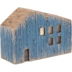 Σπιτάκι με φως  ξύλινο natural/μπλε 18χ7χ13 INART 4-70-727-0026