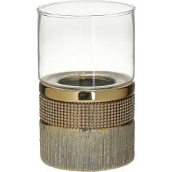 Κηροπήγιο κεραμ/γυαλί χρυσό με στρας  Δ10χ17 INART 3-70-129-0155