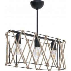 Φωτιστικό οροφής 3φωτο μεταλ. με σχοινί μαύρο/natural 52x18x20/50 INART 6-10-584-0033