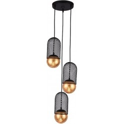 Φωτιστικό οροφής 3φωτο μεταλλικό μαύρο/χρυσό 25x12x27εκ Inart 3-10-752-0049