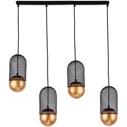 Φωτιστικό οροφής 4φωτο ράγα μεταλλικό μαύρο/χρυσό 65x12x27εκ Inart 3-10-752-0050