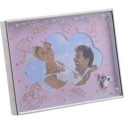 Κορνίζα παιδική μεταλλική ροζ/ασημί 15χ10 INART 3-30-056-1775