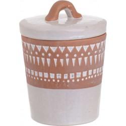 Δοχείο με καπάκι κεραμικό λευκό/καφέ 13χ13χ17 INART 3-70-354-0032