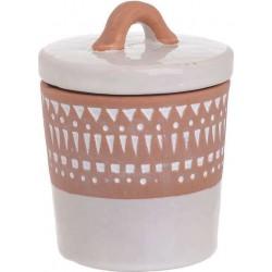 Δοχείο με καπάκι κεραμικό λευκό/καφέ 11X11X14 INART 3-70-354-0033