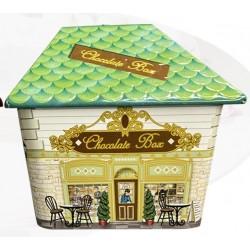 Κουτί μεταλλικό σχέδιο Σπιτάκι πράσινο 11Χ8,5Χ9,5 εκ  JK Home Decoration 001.562Β