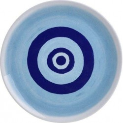 """Πιατέλα κεραμική  \""""μάτι\"""" λευκή/μπλε Δ26 INART 7-60-017-0015"""