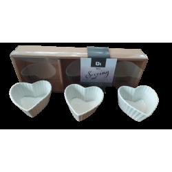"""Μπωλάκια για σνακ σετ/3 πορσελάνη """"καρδιά"""" 8x8x5 εκ JK Home Decoration 609257a"""