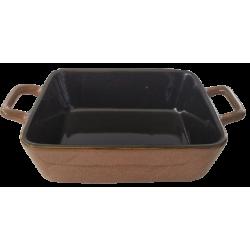 Πυρίμαχο ταψί ατομικό  με χεράκια καφέ κεραμικό 23,50 Χ15Χ5,50 εκ JK Home Decoration 879728Κ