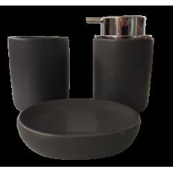 Σετ Μπάνιου κεραμικό 3 τεμ ανθρακί JK Home Decoration 406676-3