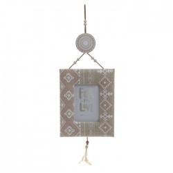 Ξύλινη/υφασμάτινη κρεμαστή κορνίζα με φτερά 17x2x55εκ INART  3-30-887-0049