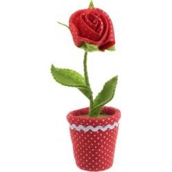Υφασμάτινο λουλούδι σε γλάστρα κόκκινο/πράσινο 7X7X20 INART 3-70-258-0015