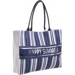 Τσάντα ψάθινη λευκή με μπλε ρίγες BLE RESORT-INART 5-42-077-0013