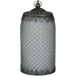 Φανάρι LED  γυαλί/μέταλλο αντικέ λευκό/ασημί Δ10χ20 INART 3-70-912-0147