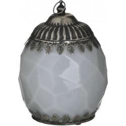 Φανάρι LED  γυαλί/μέταλλο αντικέ λευκό/ασημί Δ14χ19 INART 3-70-912-0142