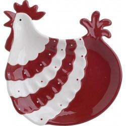 Πιατέλα κεραμική κότα κόκκινη/λευκή 25χ24χ4 INART 3-70-995-0003