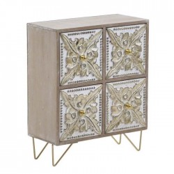 Μίνι συρταριέρα ξύλινη αντικέ/χρυσή/natural 22x11x27εκ Inart 3-70-686-0065