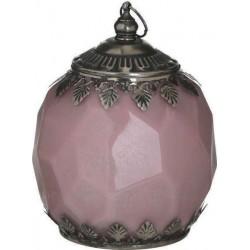 Φανάρι LED  γυαλί/μέταλλο αντικέ ροζ/ασημί 13εκ INART 3-70-912-0141