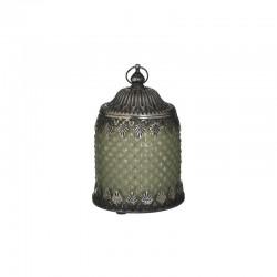 Φανάρι LED  γυαλί/μέταλλο αντικέ πράσινο/ασημί 14εκ INART 3-70-912-0145