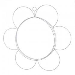 Διακοσμητικό τοίχου λουλούδι μεταλλικό λευκό 42εκ INART 3-70-418-0008