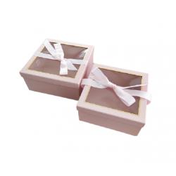 Κουτί χάρτινο σετ/2 ροζ 25.5x25.5xΧ12.5εκ JK Home Decoration 56353